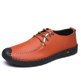 Color Block Thread Lace-Up Casual Shoes