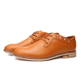 Rivets Round Toe Lace-Up Dress Shoes