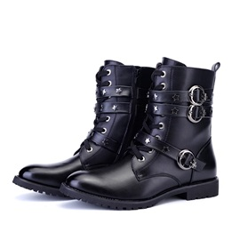 Stars & Buckles Round Toe Lace-Up Moto Boots