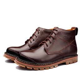 PU Thread Lace-Up Men's Martin Boots