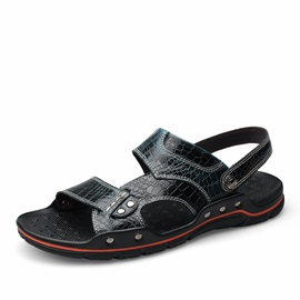 Embossed PU Open-Toe Beach Sandals