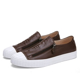 Embossed PU Oblique Zippers Skater Shoes