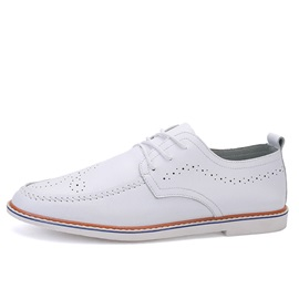 PU Pointed Toe Lace-Up Casual Shoes