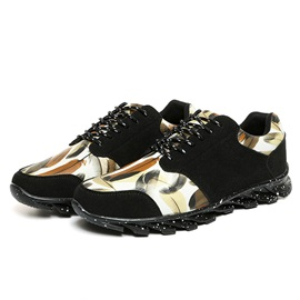 Metallic Round Toe Lace-Up Sport Shoes