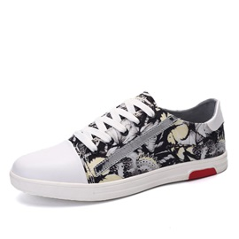 Printed Round Toe Lace-Up Canvas Shoes for Men