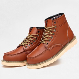 PU Plain Round Toe Men's Boots