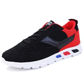 PU Color Block Lace-Up Men's Sneakers