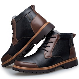 PU Color Block Round Toe Men's Fashion Boots