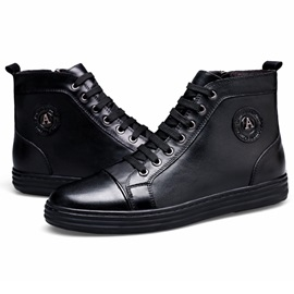 PU Plain Black Zipper Men's Fashion Boots