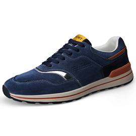 Nubuck Leather Patchwork Lace-Up High Quality Men's Sneakers