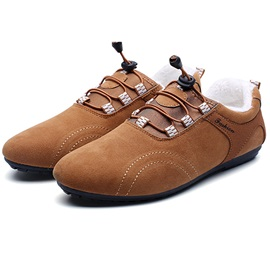 Nubuck Leather Plain Lace-Up Men's Winter Casual Shoes