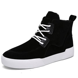 Cool PU Plain Lace-Up Round Toe Men's Boots