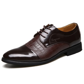 Embossed Leather Lace-Up Men's Dress Shoes