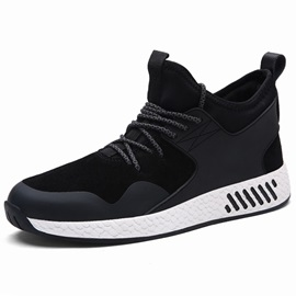 PU Patchwork Lace-Up Round Toe Men's Sports Shoes