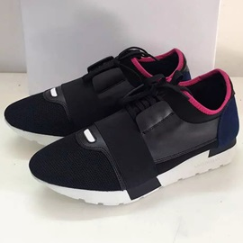 PU Color Block Lace-Up Low-Cut Upper Sneakers