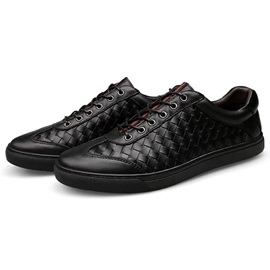 PU Black Plaid Round Toe Men's Sneakers
