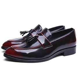 Patent Leather Slip-On Fringe Shoes for Men