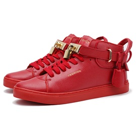 PU Lace-Up Sequins Lock Men's Chic Sneakers