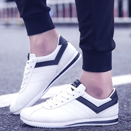 PU Color Block Lace-Up Simple Sneakers for Men