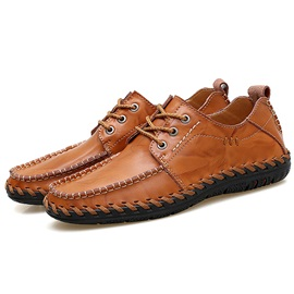 PU Lace-Up Thread Plain Men's Casual Shoes