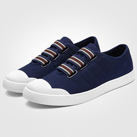 Canvas Stripe Slip-On Round Toe Men's Sneakers