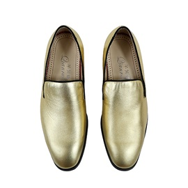 Faux Leather Square Toe Slip-On Golden Dress Shoes