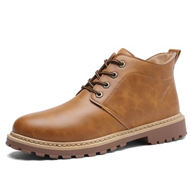 PU Sewing Round Toe Rubber Men's Martin Boots