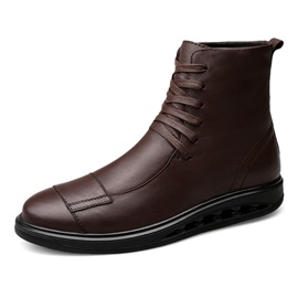 PU Lace-Up Front Plush Men's Fashion Boots