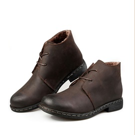 PU Lace-Up Front Plain Men's Martin Boots