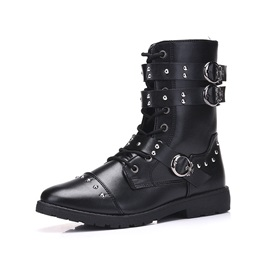PU Buckle Rivets Side Zipper Cool Men's Boots