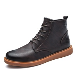 PU Brush Off Lace-Up Front Men's Ankle Boots
