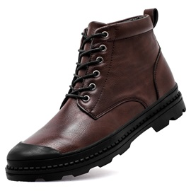 PU Lace-Up Front Plain Men's Boots