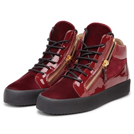 PU Lace-Up Zipper High-Cut Upper Men's Shoes