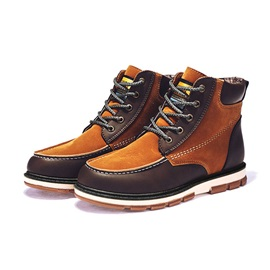 Patchwork Lace-Up Front Men's Boots