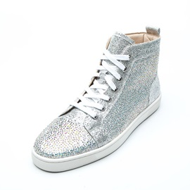 Rhinestone Plain High-Cut Upper Lace-Up Men's Shoes