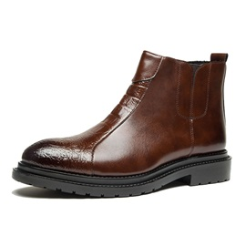 PU Round Toe Side Zipper Men's Martin Boots