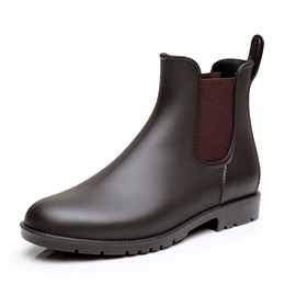 Plain PVC Round Toe Elastic Men's Rainboots
