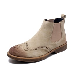Round Toe Elastic Slip-On Men's Boots