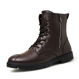 Round Toe Plain Side Zipper Men's Winter Boots