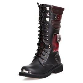 Patchwork Lace-Up Front Round Toe Men's Martin Boots