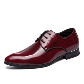 Plain Lace-Up Block Heel Men's Dress Shoes