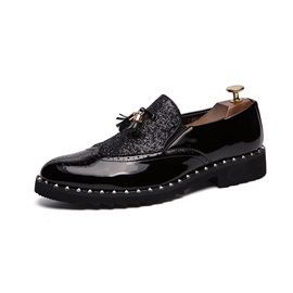 Sequin Patchwork Round Toe Men's Dress Shoes