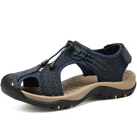 Plain Hollow Velcro Men's Sandals