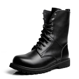 Plain Round Toe Lace-Up Front PU Men's Boots