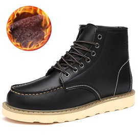 Round Toe Lace-Up Front Short Floss Men's Snow Boots