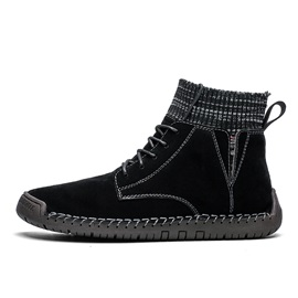 Lace-Up Front Color Block Round Toe Suede Men's Boots