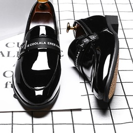 Low-Cut Upper Patent Leather Letter Pointed Toe Leather Shoes