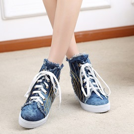 Denim Elevator Heel Lace-Up Canvas Shoes