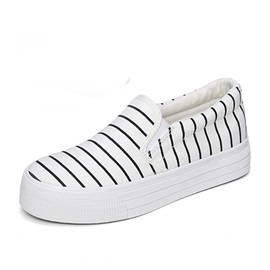 Stripe Print Canvas Slip-On Sneakers