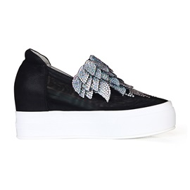 Rhinestone Leaf Platform Fashion Sneakers